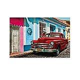 XUYAN Póster de coche cubano rojo antiguo en La Habana Ilustración de una calle cubana interesante pintura decorativa estética lienzo arte de la pared carteles sala dormitorio impresiones 60 x 90 cm