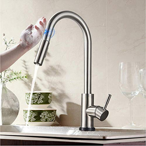 LLLYZZ Pull Sensor Keukenkraan RVS Sensitive Touch Control waterkraan Mengsel voor keuken Touch Sensor Keukenmengkraan