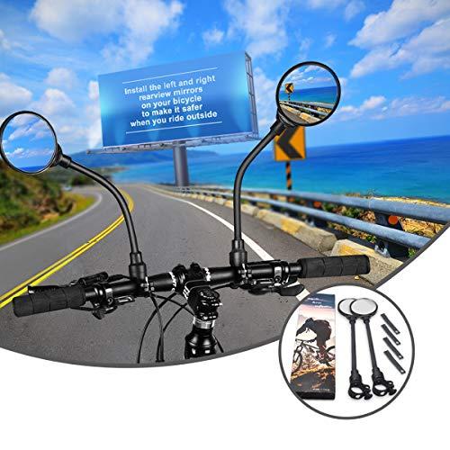 Specchietti Bici 2 Pezzi, Specchietto Bici 360° Regolabile Ruotabile, Fruitlet® Specchietti Retrovisore per Bicicletta HD Convesso Pieghevole Destro e Sinistro, per Bici da Mountain Strada e Elettrica