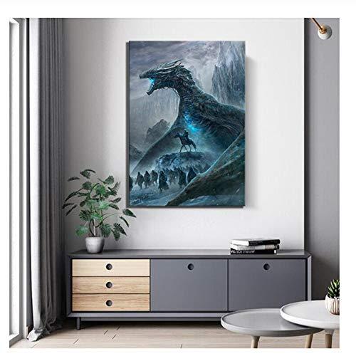 nr Filmplakat Gemälde Zombies Drachen Bild Leinwand Gemälde HD Bilder leinwand Malerei Wandkunst für Wohnkultur-50x70 cm Kein Rahmen