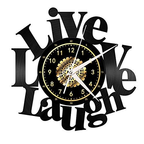 Live Laugh Love Vintage Black Vinyl Wall Clock Wall Art 3D Modern Design Office Bar Room Decor Van Het Huis Van De Gift