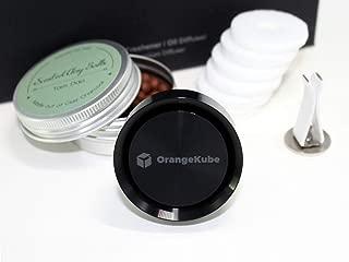 OrangeKube Premium Aluminium Reusable Air Freshener (Black) - Essential Oil Diffuser, Scented Clay Balls, Customizable Scent Pads, Aluminium Diffuser - Perfect for Car and Home