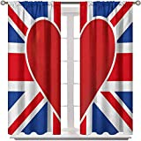 Living Room Curtain Union Jack Bedroom Curtains Window Treatment British Flag with a Big Red Heart in Center Nationality Pride Concept for Kids' Room 2 Rod Pocket Panels 42' W x 54' L