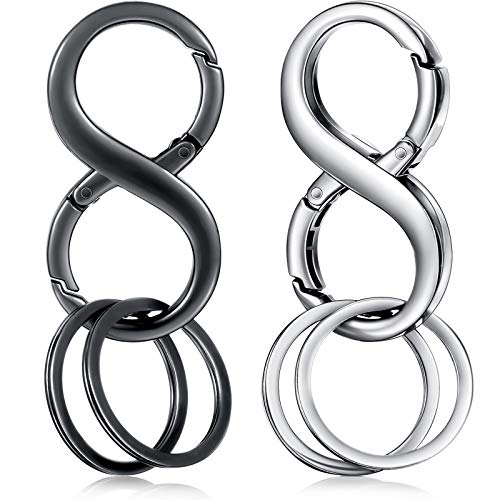 2 Pieces 8 Shape Car Key Chains Car Detachable Key Chains Zinc Alloy Business Key Rings with 4 Extra Key Rings for Men and Women, Black and Silver