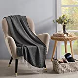 Shalala Fall Throw Blanket for Couch 50 x 60 inches - Knit Black and White Blanket with Fringe - Cozy Lightweight Decorative Throw for Bed Sofa and Living Room Black
