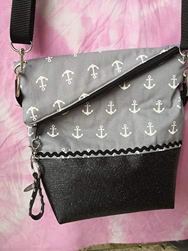 Ausgefallene Damen-Handtasche - Foldover - Schwarz-Glimmer - Grau Anker