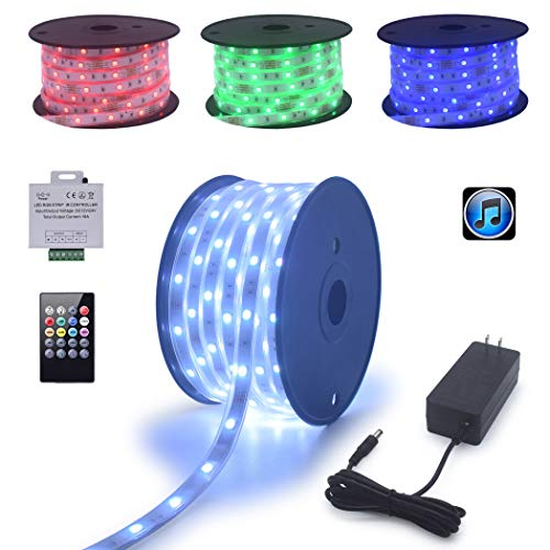 120Ft (2x60Ft) Long Run Waterproof IP67 24V RGB LED Strip Rope Light Music Sound SYNC Controller for Home Theater Backlight Crown Molding Accent Outdoor Roof Decks Railings Colors Lighting Decoration