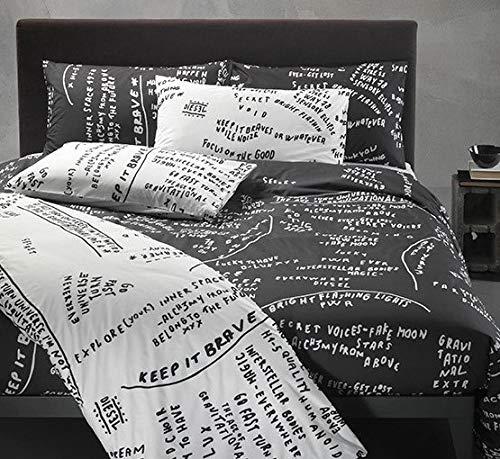 Juego de funda nórdica Diesel Scribbles para cama Maxi Percal de puro algodón saco + fundas de almohada (no incluye sábana bajera) (Black 002, matrimonial dos plazas)