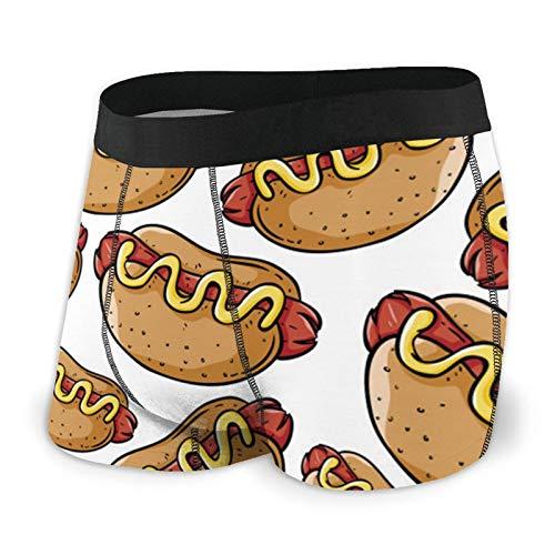 Antokos Herren-Boxershorts, eng anliegend, Hot-Dog-Unterhose, schnell trocknende Unterwäsche Gr. S, Schwarz