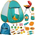 Mitcien Kids Camping Tent Gear Set Pop Up Play Tent with Pretend BBQ Toys Camping Tools for Toddlers Boys Girls for Indoor and Outdoor