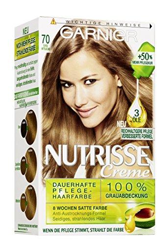 Garnier Nutrisse Creme Coloration Toffee Mittelblond 70 / Färbung für Haare für permanente Haarfarbe (mit 3 nährenden Ölen) - 1 Stück