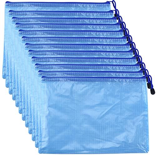 ファイル袋 ジッパー式 A4 12個セット ジッファイル袋 オフィス用品 資料 書類 出張収納 学生 事務 旅行整理収納 ファイルホルダー 防水 半透明 (青)