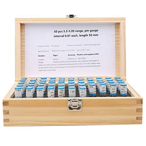 Pin Gaugem, 51pcs 58-63HRC 5,5-6mm Stecker Pin Gage Set 0,001mm Toleranzlager Stahl Präzisionswerkzeug für elektronische Leiterplatten, Leiterplatten, Formen, Genauigkeitsmaschinen
