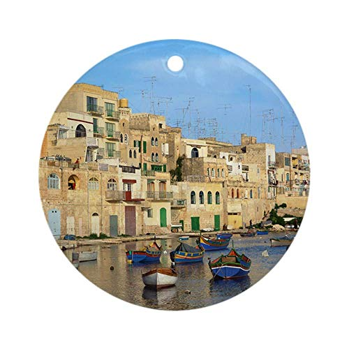 Yilooom Saint Julian'S Bay In Malta Ronde Vakantie Kerst Ornament Opknoping Kerst Decoratie Gift Keramisch Ornament Xmas Speciale Keepsake Porselein Art Display - 3