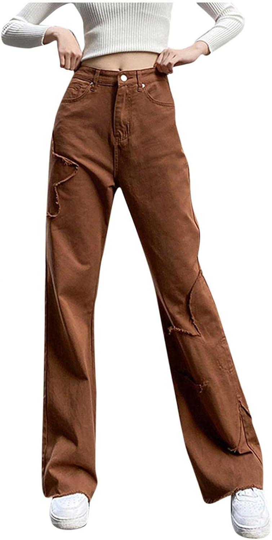 Aiouios Y2K Fashion Jeans for Women High Waisted Boyfriend Jeans Floral Print Stretch Casual Denim Pants Streetwear