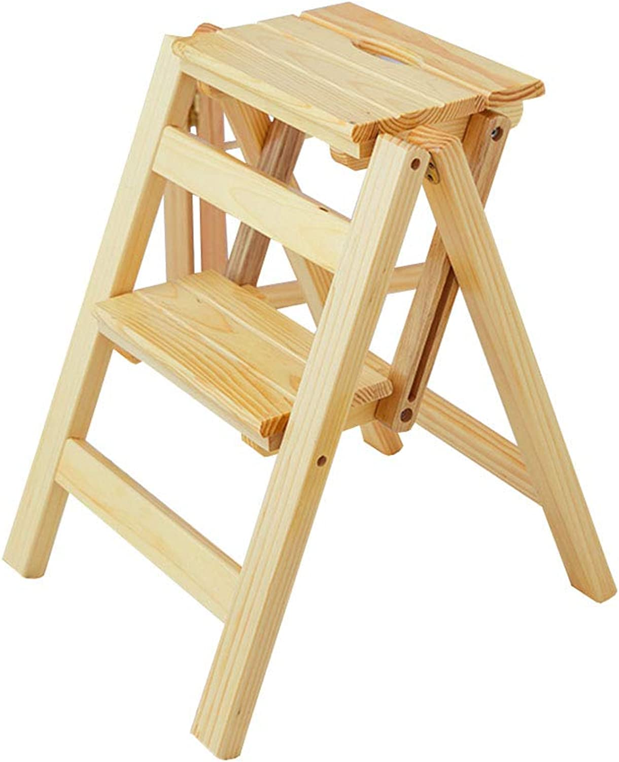 Wooden 2 Step Ladder Stool Folding Portable Ascending Ladder Dual-use for Home Office(39.5  44  47cm)