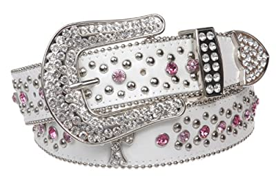 """1 1/2"""" Snap On Western Rhinestone Cross Studded Leather Belt Size: L/XL - 39"""" Color: White"""