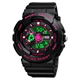 Womens Digital Sports Watch Large Face Sports Outdoor Waterproof Military Chronograph Wrist Watches for Women with Date Multifunction Tactics LED Army Stopwatch Red
