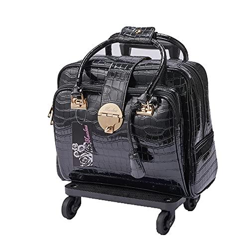マコリーナ Macolina レディース バッグ キャリーオンバッグ rolling laptop bag おしゃれ カート付きキャリーオンバッグ キャリーバッグ ラップトップバッグ 黒 ブラック クロコの型押しPUレザー