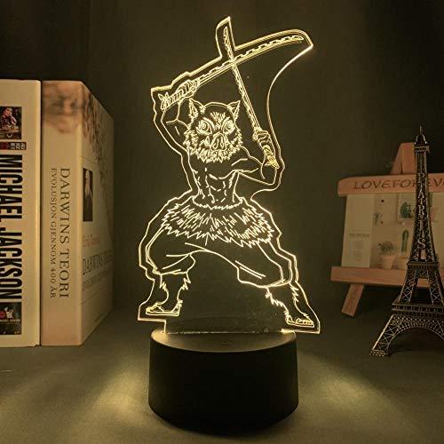 Lámpara de noche 3D de anime, ilusión, anime, demostración, kimetsu, no yaiba, para dormitorio, decoración, manga, cumpleaños, Inouke Hashibira, lámpara LED 3D ZMSY