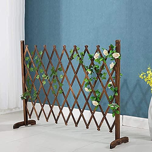 WXking Dekorative Zäune aus Holz ausdehnender Zaun, Haustierhundschutzzaun, einziehbarer Gartenzaun für den Außenbereich/Indoor Faltbare Barriere