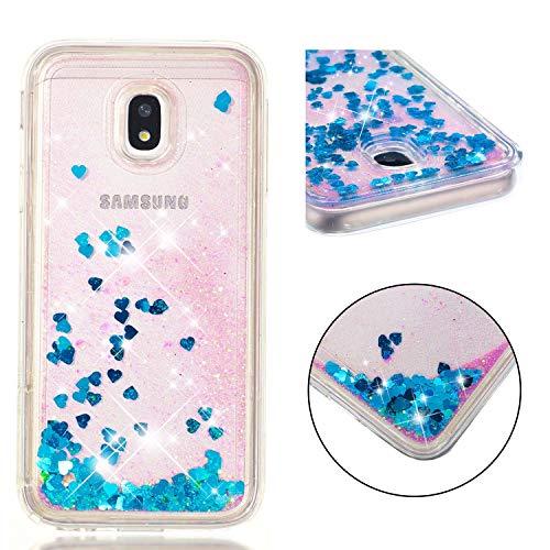 Custodia Samsung Galaxy J3 2017/J330 Glitter Cover,Brillantini Silicone Gel Liquido Sabbie Mobili Bumper TPU Case per Custodie Samsung Galaxy J3 2017/J330_Blu