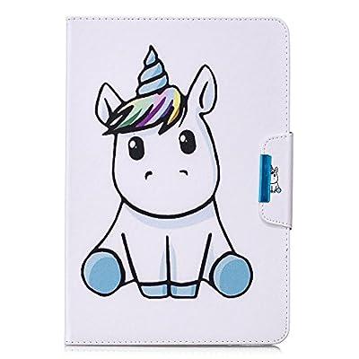 Coopay Funda blanca para tableta universal de 10 pulgadas, funda de cuero PU Funda inteligente para tableta táctil Funda protectora rígida con diseño de unicornio lindo para niño
