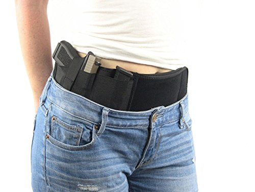 Ultimate Belly Band Holster for Concealed Carry - Fits Gun Smith and Wesson Bodyguard, Glock 19, 42, 43, P238, Ruger LCP, etc - for Men and Women (Right)