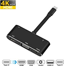 Rocketek USB-C Digital AV Multiport Adapter, USB C to VGA (1080P/19201200) / Hdmi (Up to 4k)/USB 3.0 Adapter and Audio Adapter with USB-C Charger Adapter Compatible with Apple MacBook/Nintendo Switch
