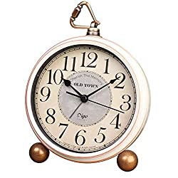 Vintage Alarm Clock, Cookadvan 5.2 Classic European Style Retro Small Desk Clock, Non Ticking Silent HD Glass Lens and Large Numerals, Battery Operated, for Bedside, Desk and Office (White-2)