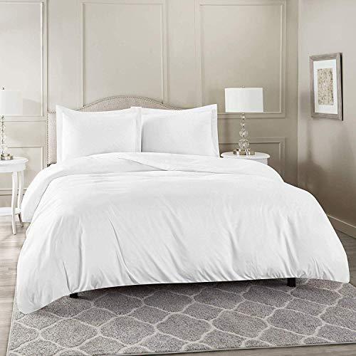 M Fabrics Premium Sateen Weave 800 Thread Count Cotton Duvet Quilt Cover Set with Pillowcase, 100% Long Staple Cotton Bedding Set (White, Single)