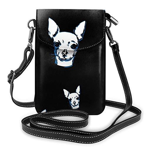 Lawenp Bolso cruzado para teléfono celular o pasaporte para mujer Monedero pequeño bolso cruzado con ranuras para tarjetas de crédito para mujer Perro Chihuahua Negro
