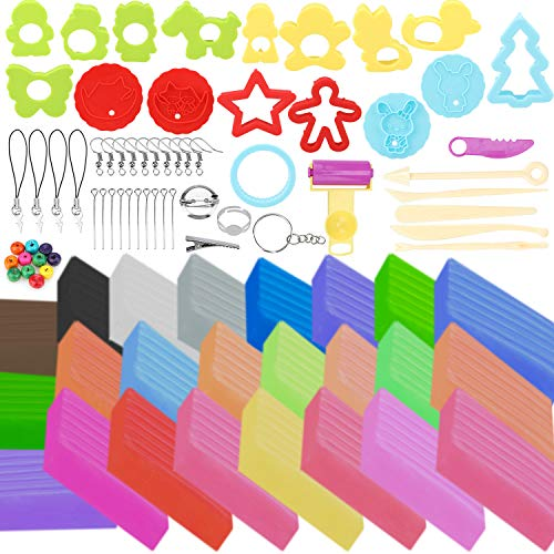 HOWAF Polymer Clay, 24 Blöcke farbige Modelliermasse Kinderknete Ungiftig Backknete Ofenknete Set mit Knetwerkzeug Teig Plastilin Werkzeuge und Zubehör, Kinder