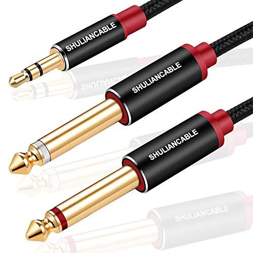 SHULIANCABLE 3,5 mm auf 2X 6,35 mm Stereo Audio Kabel, Mono Y Splitter Audio Kabel Digital Interface Instrument Kabel Unterstützt für Mixer, Audio Recorder, Gitarre, Verstärker, Mikrofon (1M)