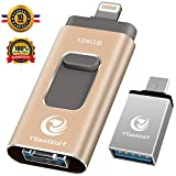 iPhone Flash Drive for iPhone 128GB USB Flash Drive Type c Flash Drive 3.0 YSeaWolf photostick Mobile for iPhone External Storage, Type c, Android, PC iPhone Picture Stick iPhone Memory Stick (Gold)