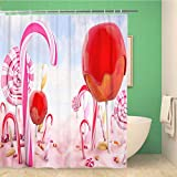 JessFash Shower Curtain Candy Land Render World Sweet Magic Fantasy Lollipop Wonderland Sugar 72x72 Inches Waterproof Polyester Bathroom Decor Curtain Set with Hooks 60X72 Inch