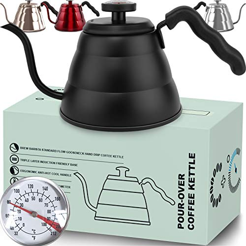 Pour Over Coffee Kettle with Thermometer-Flow Gooseneck Tea Kettles-Brew Barista-Standard Hand Drip Coffee Suitable all Stovetops and Induction, BPA Free (34 oz, Black)