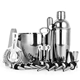 Cocktail Shaker Set, 16 Pieces Bartender Kit with Professional Bar Accessories Jigger Shaker Muddler Strainer Tong Mixing Spoon 4 Liquor Pourers 4 Stoppers Corkscrew and Ice Bucket