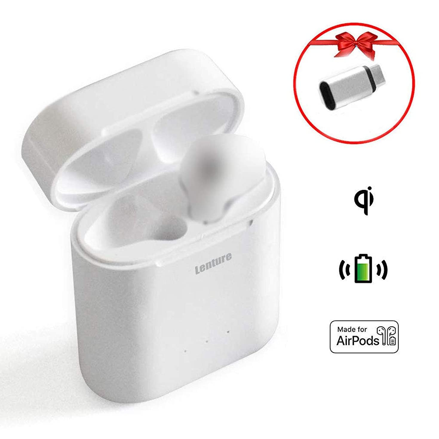 Wireless Charging Case Replacement for AirPods 1st/2nd, Lenture Fast Charger Case Compatible with Airpod, Built-in Power Batteries Support 5 Times Full Charge (No Pairing Button, No Airpods Included)