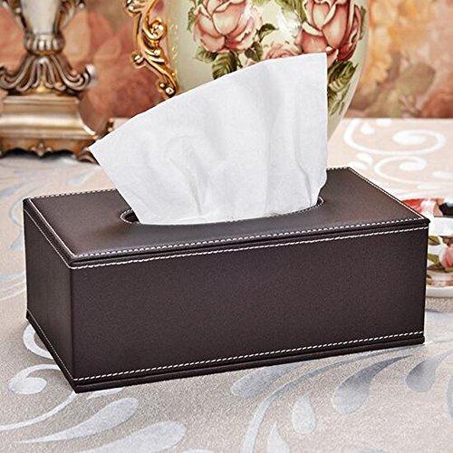 Delmkin Kosmetiktücherbox Hochwertig PU-Leder Tissue Box - 25,5 * 14 * 9,5cm (Braun)