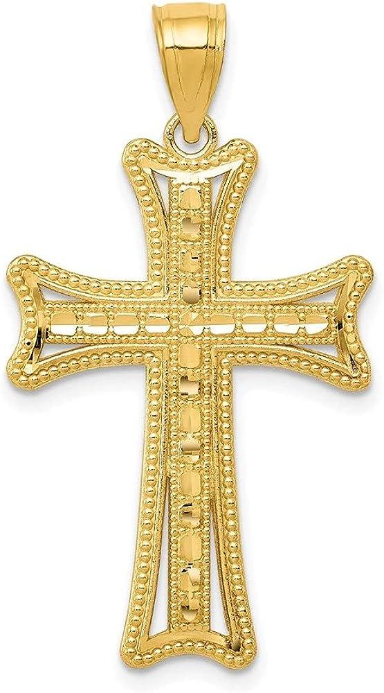 14k Yellow Gold Diamond Cut Cross Pendant (L- 33.69 mm, W- 19.17 mm)