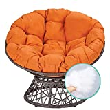 wentgo Round Papasan Chair Cushion, Thick Comfortable Outdoor Egg Seat Cushions with Ties