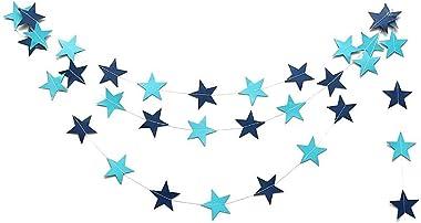 Mmrm 4M en Forme d'étoile Papier Guirlande Bruant Suspension Décoration Maison Xmas Fête Mariage - Bleu