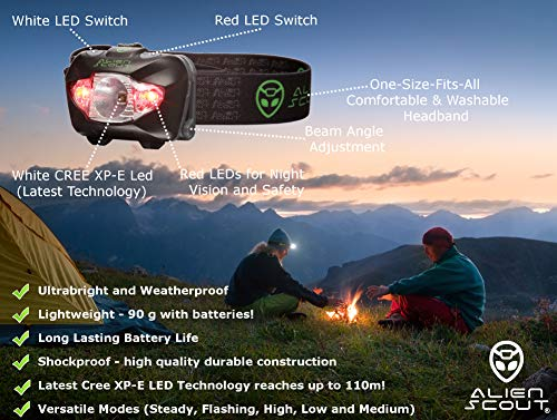 Head Torch by Alien Scout - High-End, Professional, Shockproof and Weatherproof LED Headlamp for Running, Camping, Cycling, Fishing, Dog Walking, Reading, Working, DIY Or Watching Nature - Adjustable, Lightweight and Ultrabright - White/Red/SOS Lighting Modes - includes Alkaline Batteries and a Portable Hard Case