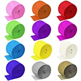 DECARETA 30 Rouleaux Serpentins en Papier Crépon, Multicolores Banderoles en Papier Crêpé pour Décorations...