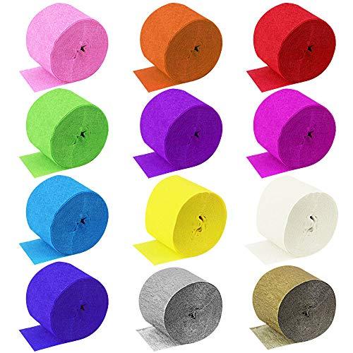 DECARETA 30 Rollen 12 Farben Kreppbänder Buntes Krepppapier Dekoratives Seidenpapier Crepe Paper Kreppband für Geburtstagsparty, Hochzeit, Wanddeko Party Feier Weihnachten