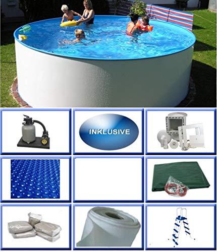 Summer Fun Stahlwandbecken Set Malibu Basic rund ø 3,50m x 1,20m Folie 0,4mm All Inklusive Set Pool Rundpool / 350 x 120 cm Stahlwandpool