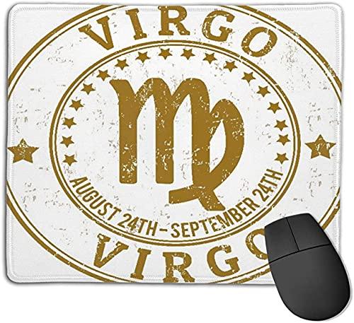 Alfombrilla de ratón para Juegos, Virgo Zodiac Astrology Grunge Stamp, Alfombrilla de ratón con Base de Goma Antideslizante para portátiles Computadoras Alfombrillas de ratón 25cmX20cm