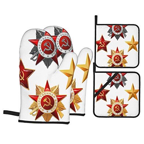 Juego de 4 Guantes y Porta ollas para Horno Resistentes al Calor Estrella de Hoz de Martillo de Estrellas de Oro Rojo para Hornear en la Cocina,microondas,Barbacoa
