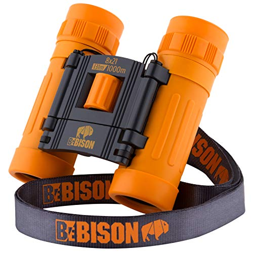 BeBison Binoculars for Kids and Adults - 8x21 High Resolution Real Optics - Compact Folding Shockproof Kids Binoculars for Bird Watching - Spy Games - Outdoor Play for Boys and Girls.